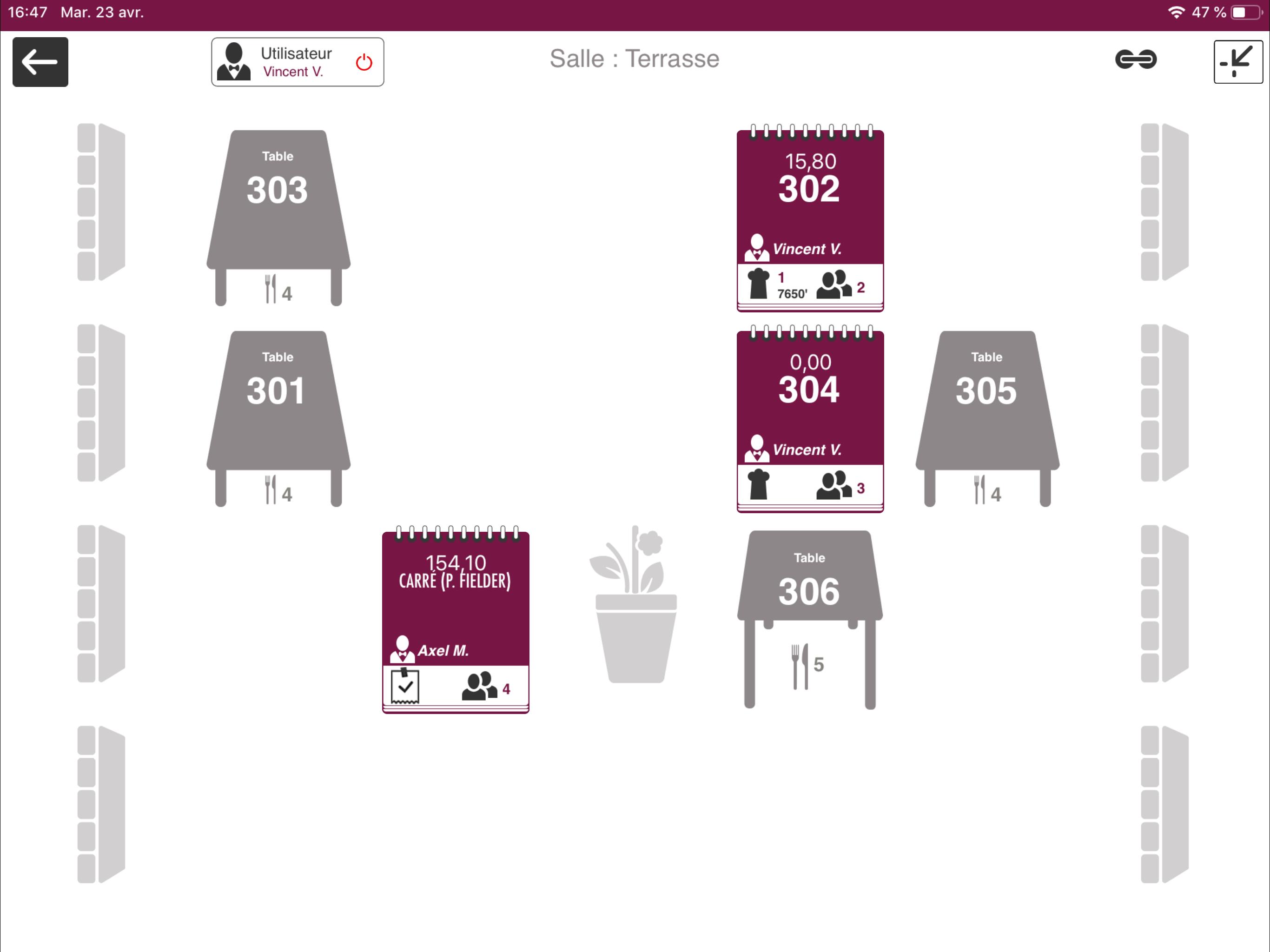 Gestion restaurant : plan de salle L'Addition