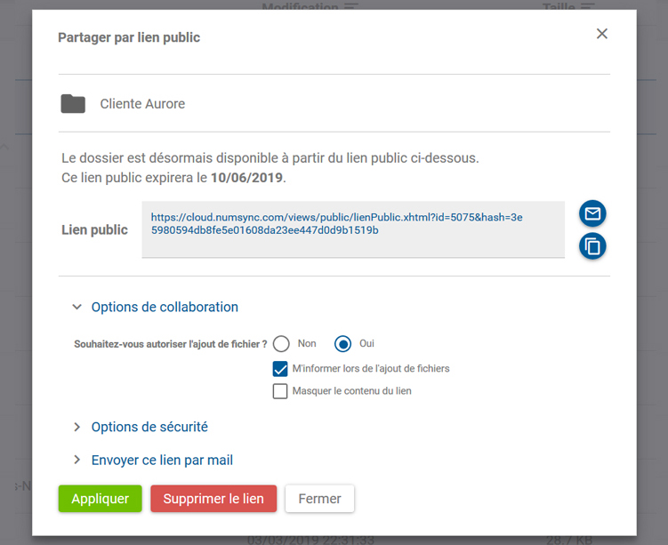 Numsync, partage par lien public option de collaboration