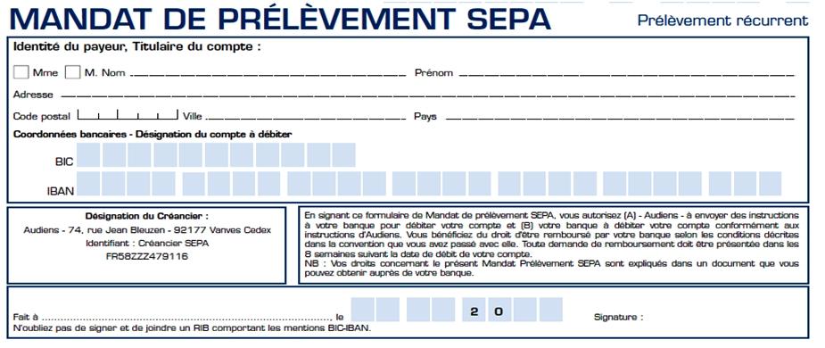 Prélèvement SEPA : modèle de mandat de prélèvement SEPA
