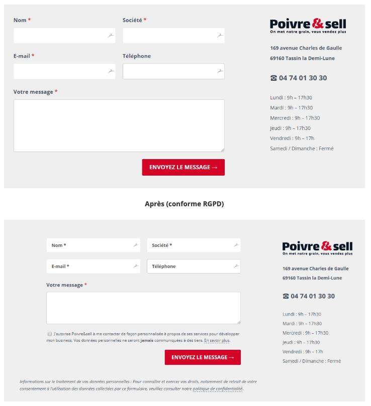 rgpd site internet : formulaire de contact avant après RGPD