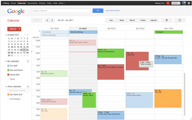 calendrier partagé : visuel Google Agenda