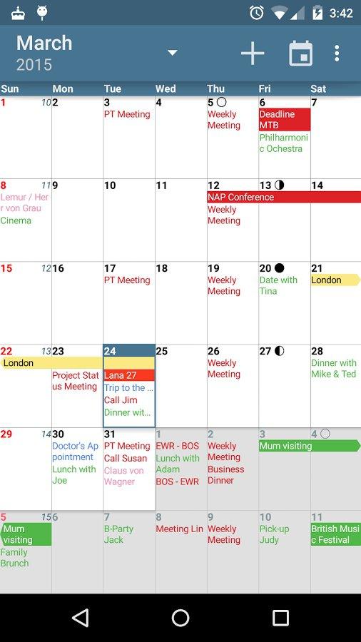 calendrier partagé : visuel acalendar