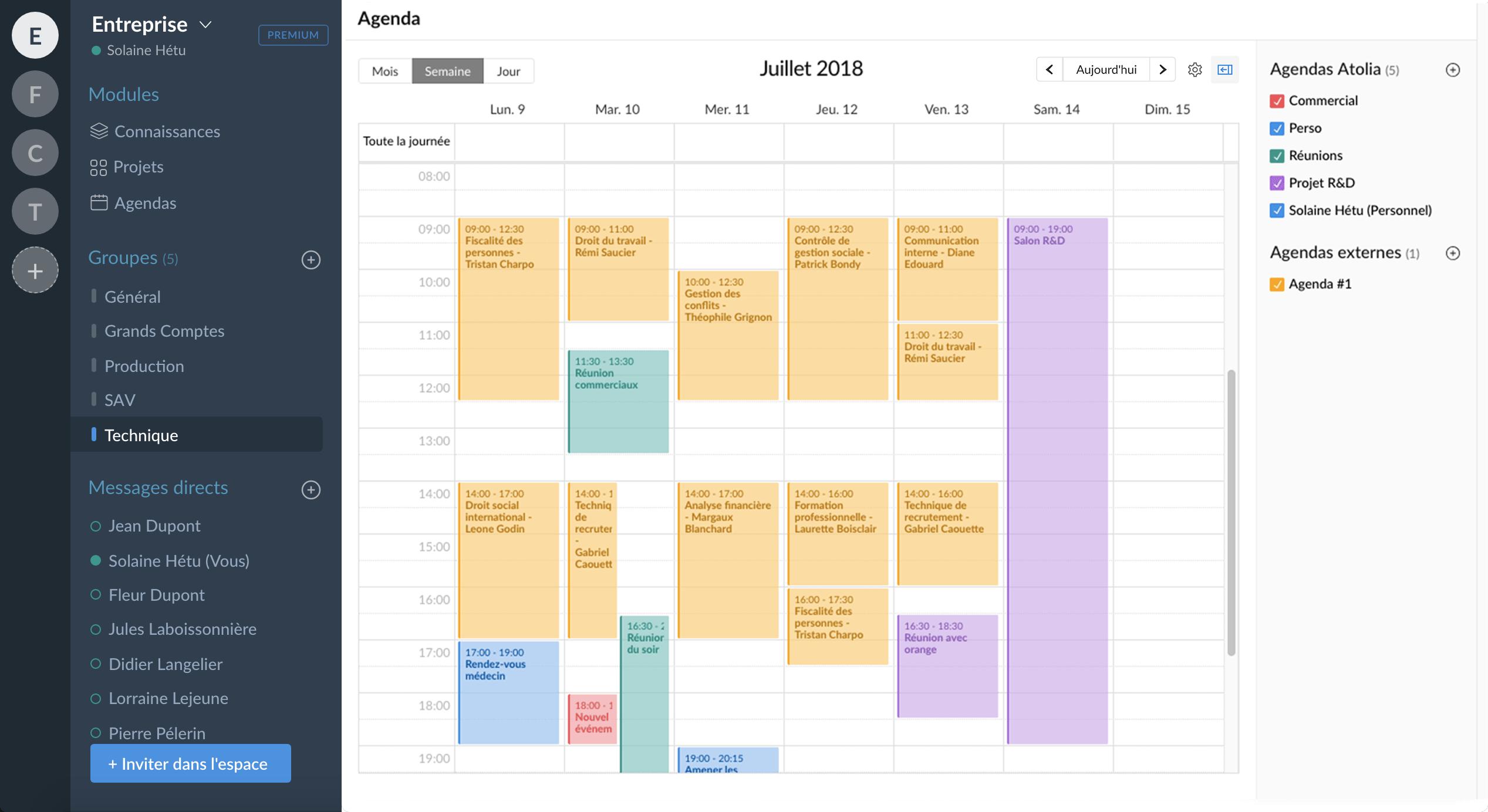 calendrier partagé : visuel atolia