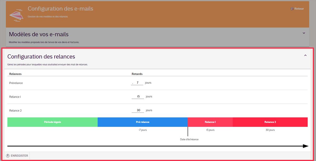 Tutoriel INFast : configuration des relances
