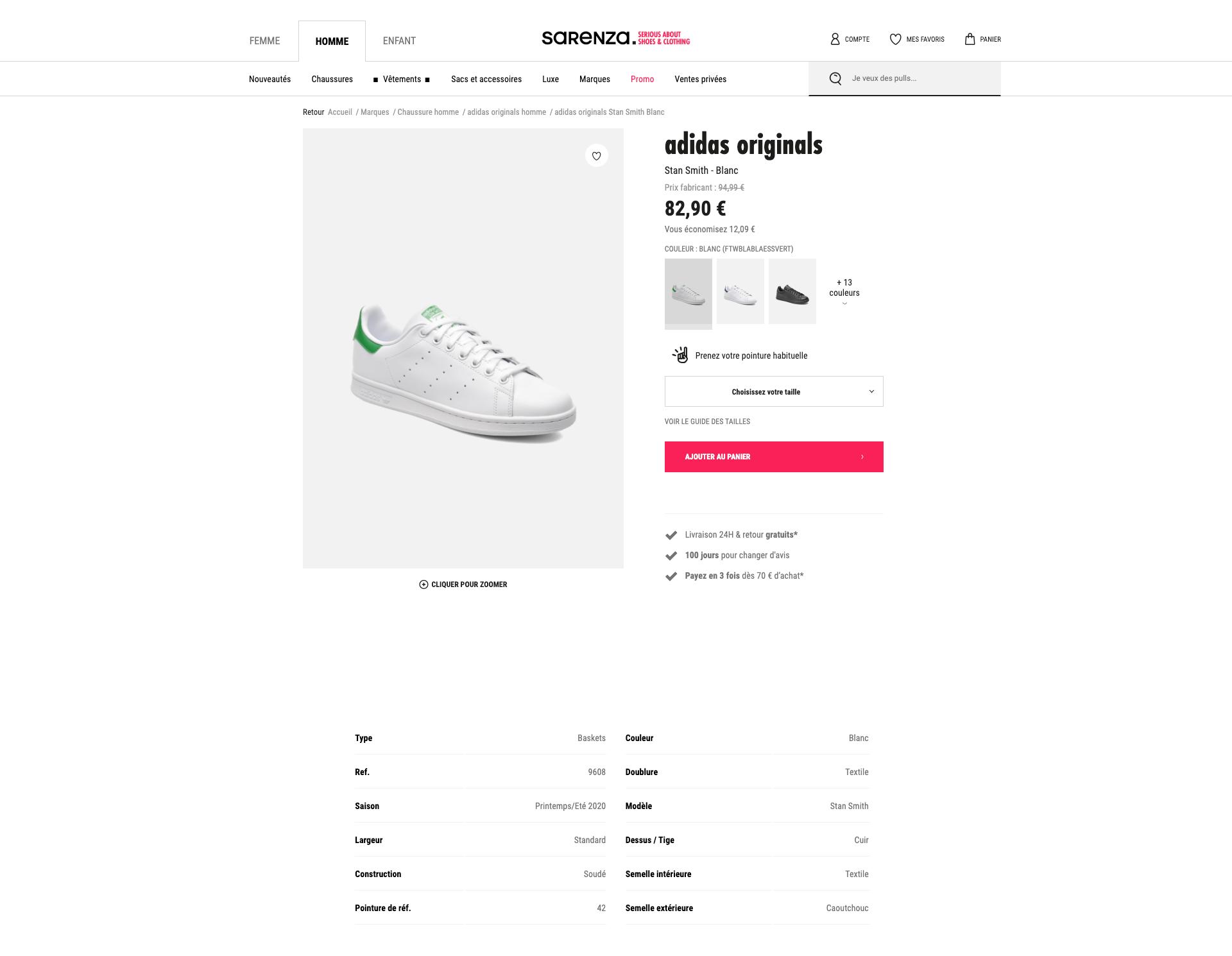 exemple fiche produit chaussure : Sarenza