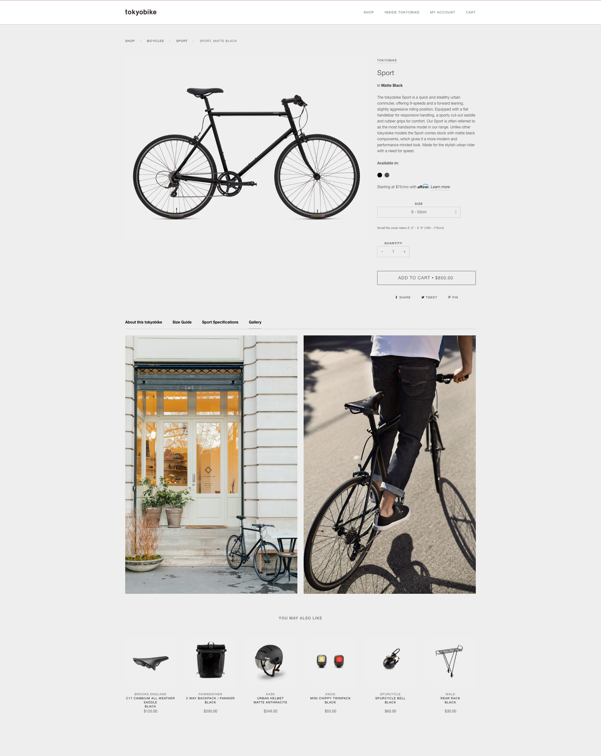 fiche produit Shopify : exemple Tokyobike