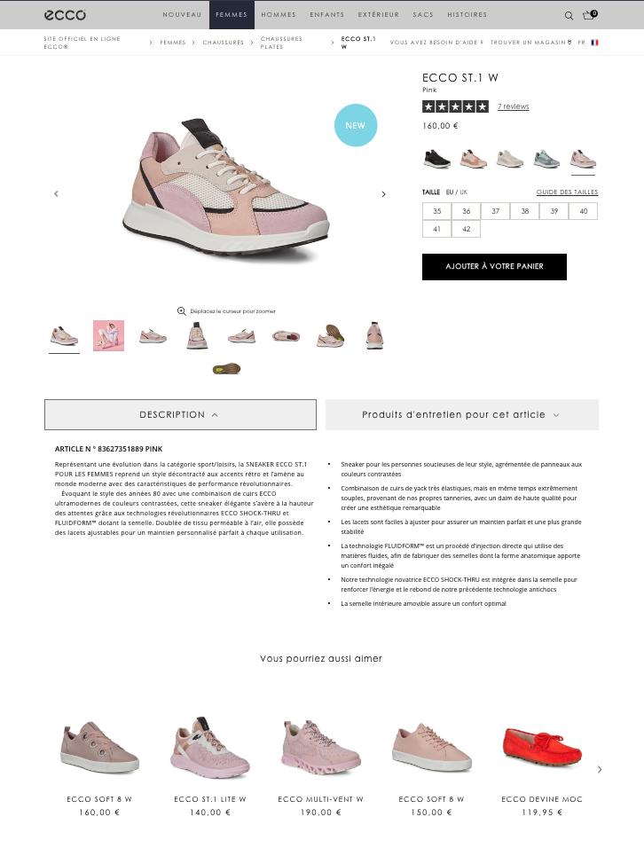 Exemple fiche produit chaussure avec Channable