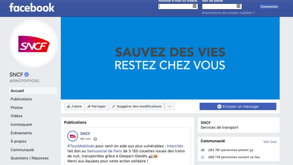 Communication digitale : exemple de page Facebook