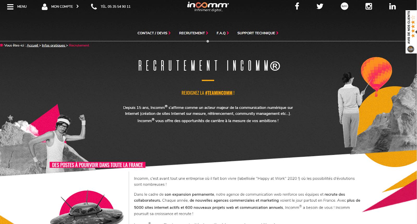 Incomm a su mettre en avant sa marque employeur grâce à son site carrière, généré par Taleez.