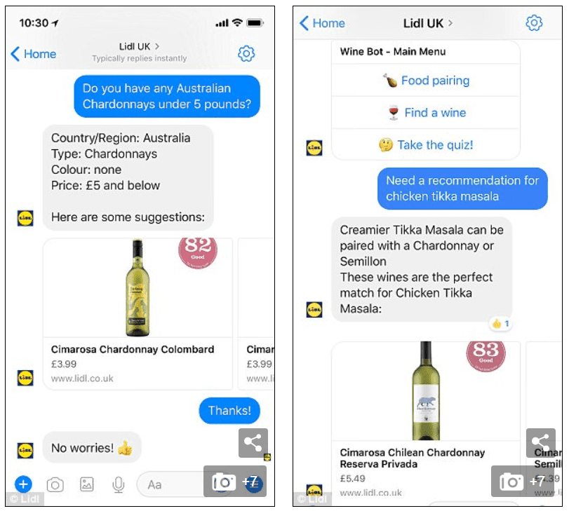 Lidl's Chatbot in action