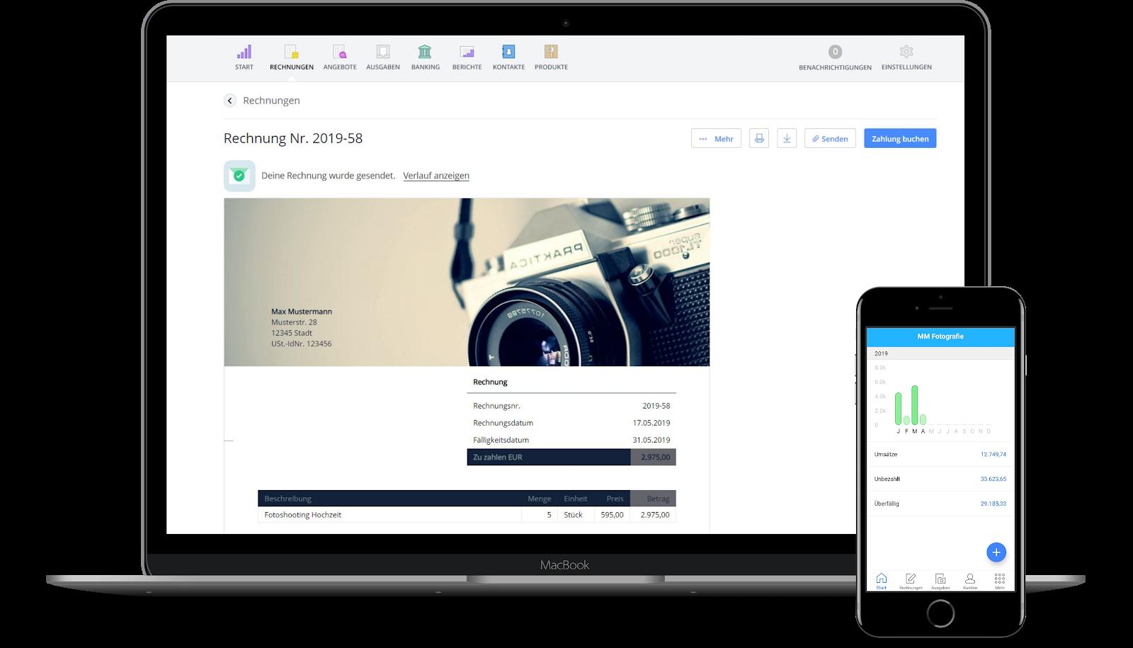 Debitoor - Software Rechnungsstellung - Ansicht mobil desktop