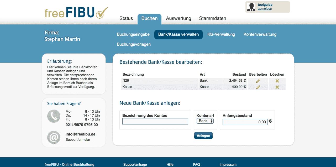FreeFibu Online-Buchhaltungssoftware