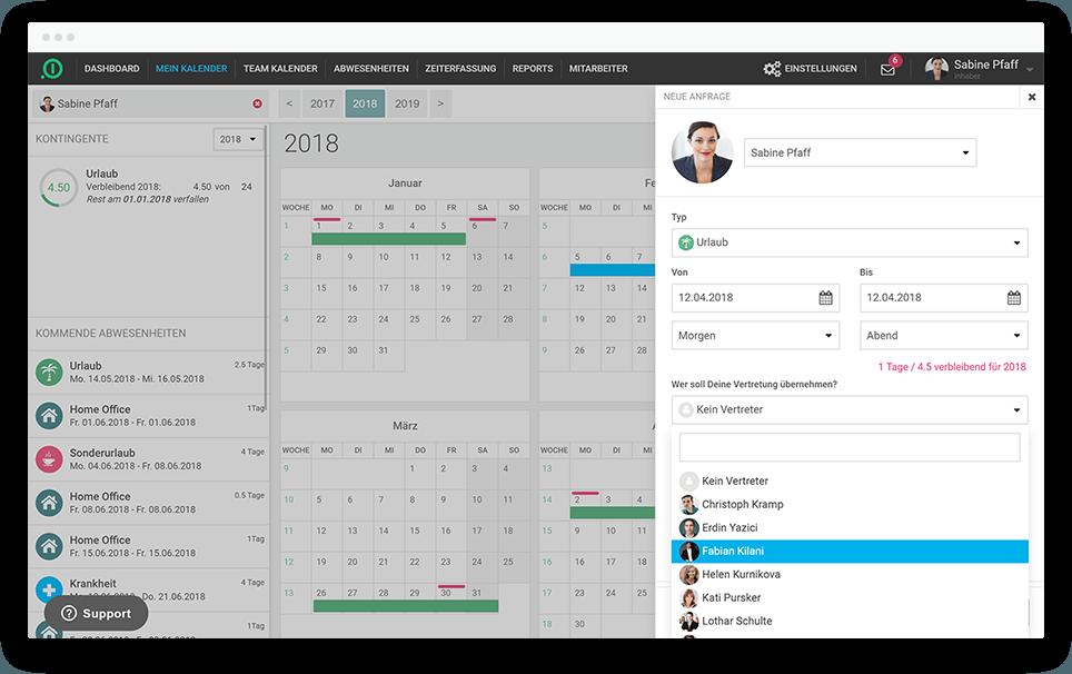 Absence.io Urlaubsplaner Screenshot - Urlaubsverwaltung für Ihre Mitarbeiter