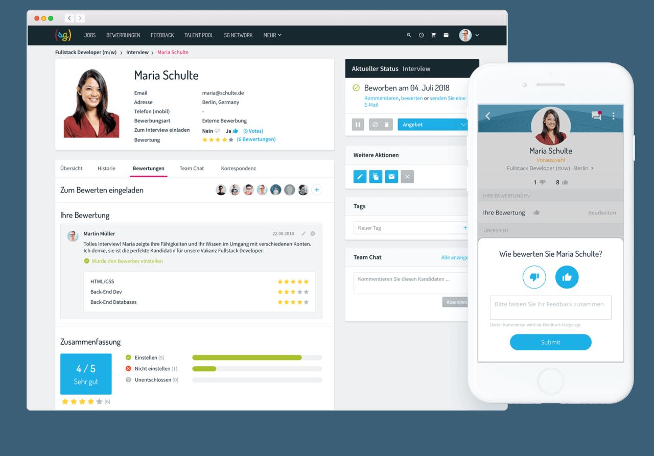 Softgarden Personalsuche Software Screenshot
