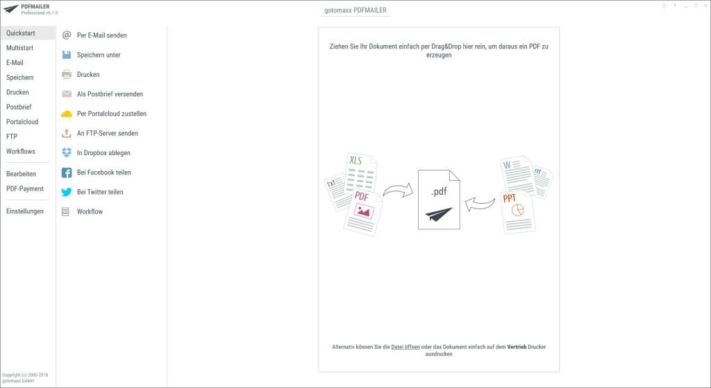 PDFMAILER Übersicht über Funktionen