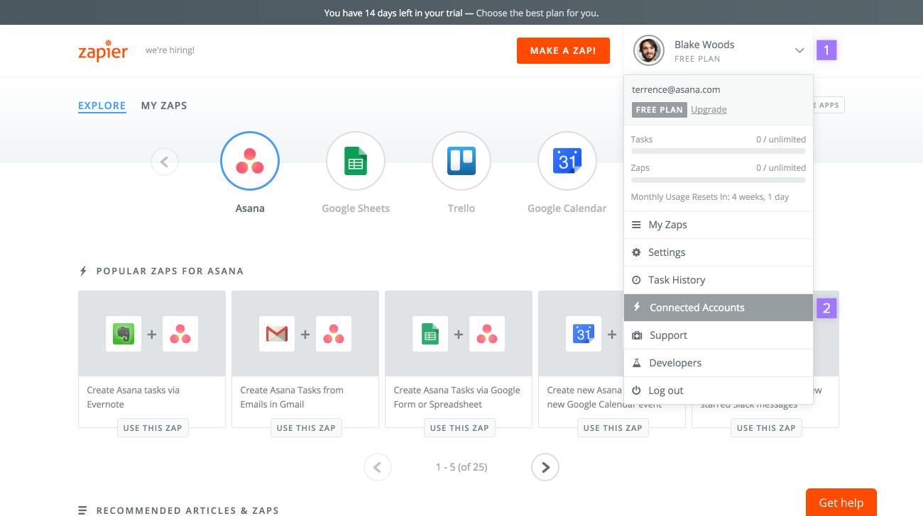 Integration Asana Zapier API