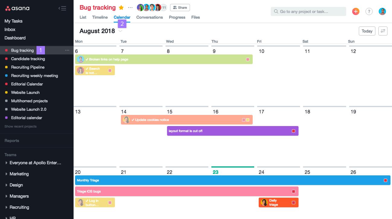 Projektmanagement: Kalenderansicht Asana
