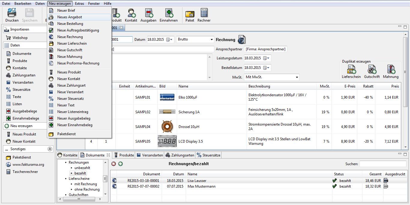 Fakturama Dokumentauswahl Rechnungsstellung