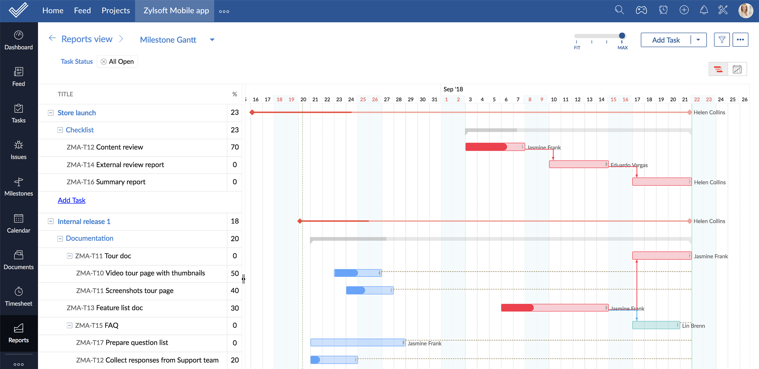 Zoho Projects Projektmanagement mit Gantt-Diagramm