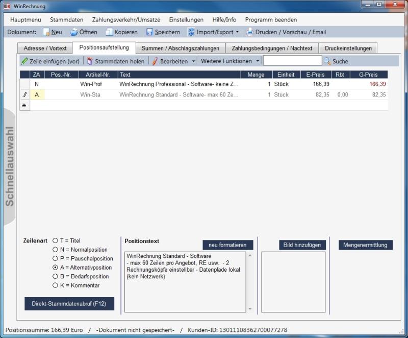 WinRechnung Screenshot Fakturierungssoftware handwerk