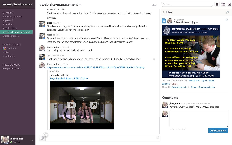 travail collaboratif : visuel Slack