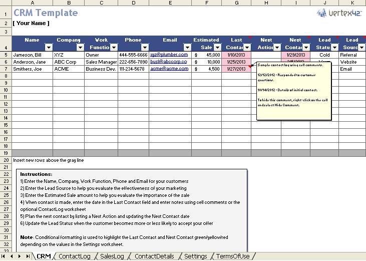template gestione crm su Excel