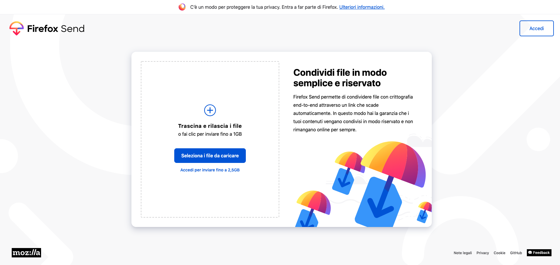Firefox send screen