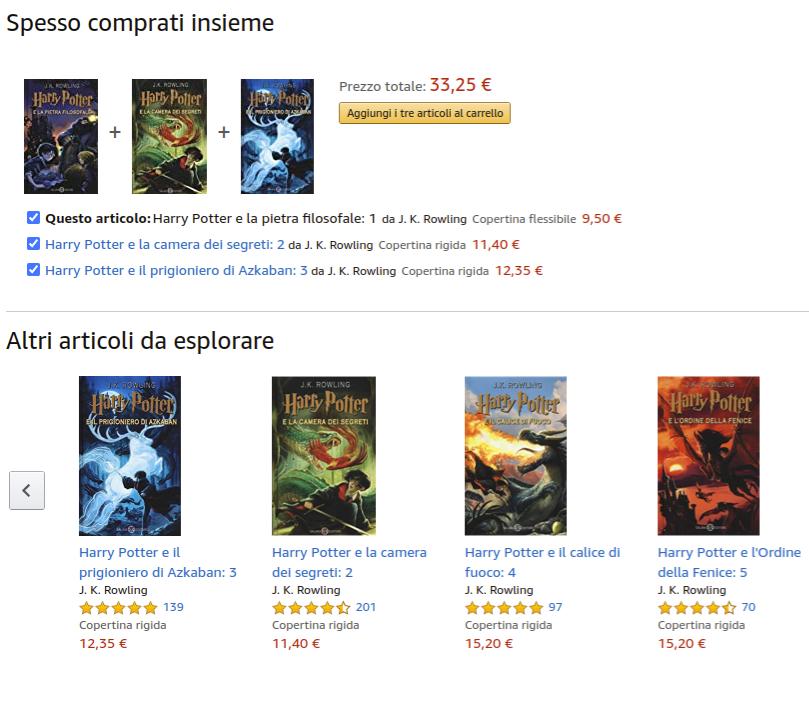 scheda prodotto libro di Harry Potter su Amazon