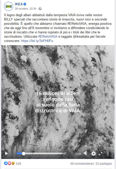 post facebook di Ikea Italia
