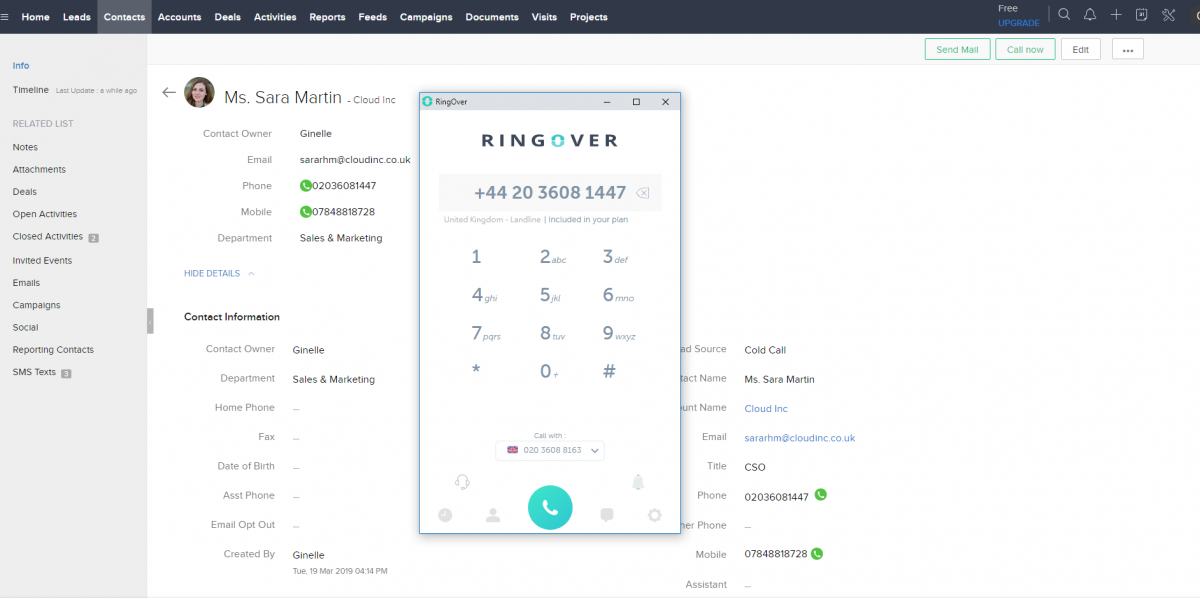 RingOver, unified communication system with interactive voice switchboard