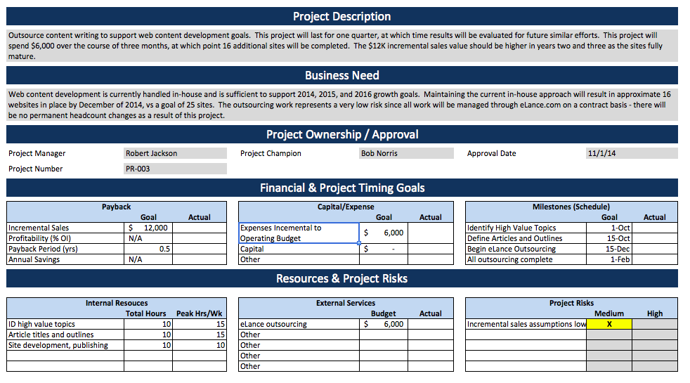 Template for project specification using Excel