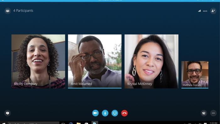 Reunião de trabalho virtual com Skype