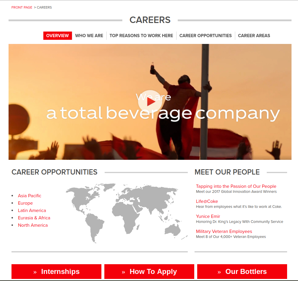 coca cola career website