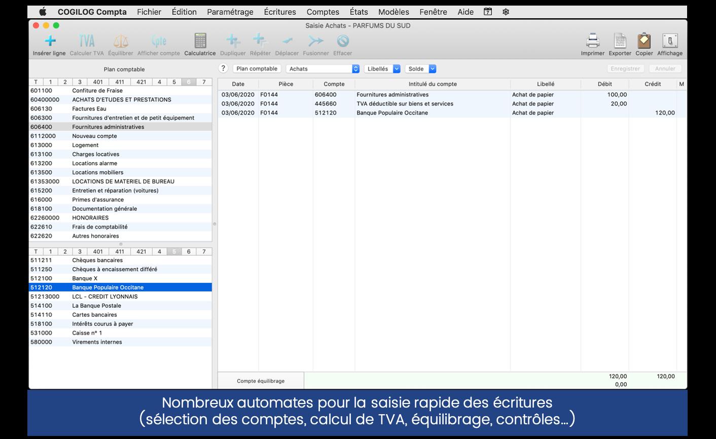 Capture d'écran Cogilog Compta, écran saisie rapide des écritures comptables