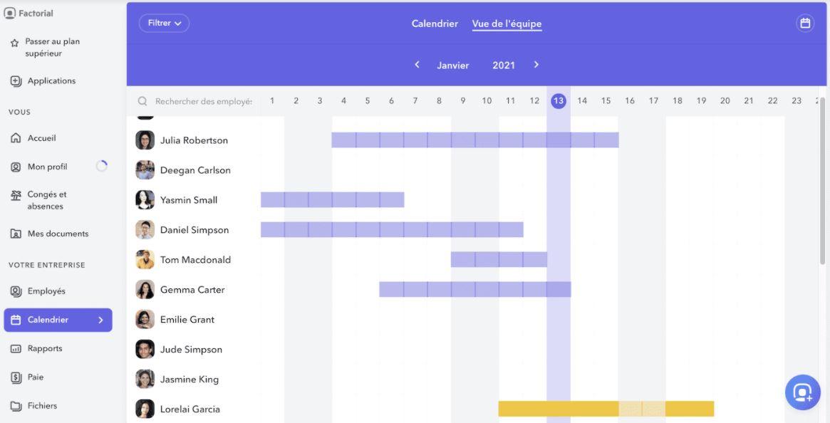Vue calendrier d'équipe