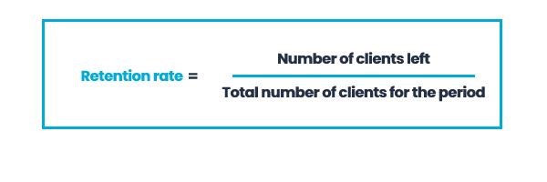 Retention Rate = Number of clients left/Total number of clients for the period