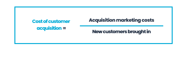 Cost of customer acquisiton = acquisition marketing costs / new customers brought in