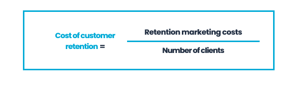 Cost of customer retention = Retention marketing costs / Number of clients