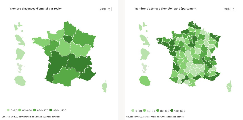 Répartition des agences d'emploi en France 2019 © OIT