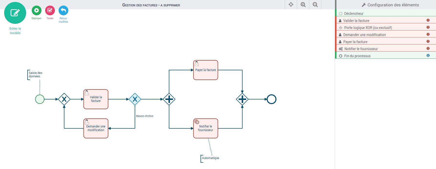 Configuration d'un processus de facturation dans Iterop