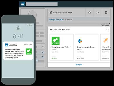 promouvoir une offre d'emploi LinkedIn via notifications push et suggestions