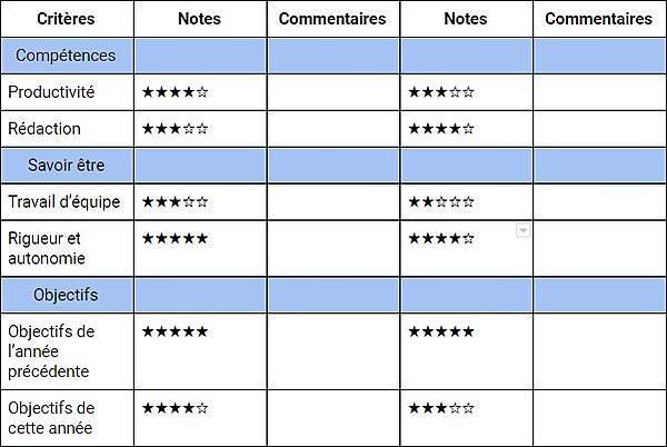 Exemple de grille d'entretien individuel remplie
