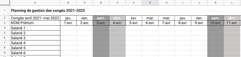 Exemple de planning de congés créé sur Excel
