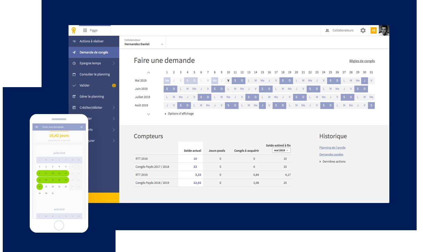 Interface de l'outil SIRH Lucca SIRH (demande de congé)