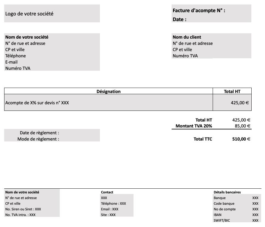 Exemple de facture d'acompte (modèle)
