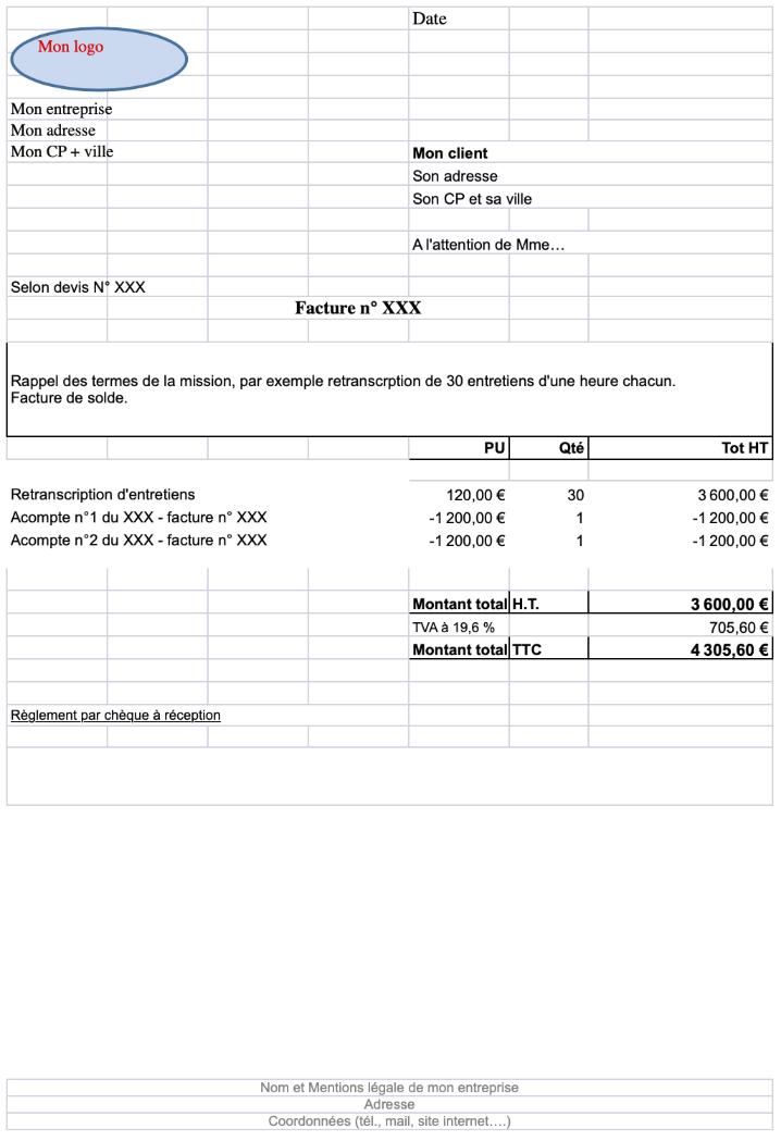 Exemple de facture de solde