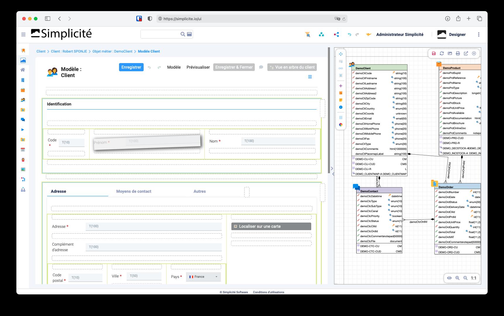 interface plateforme low code française Simplicité