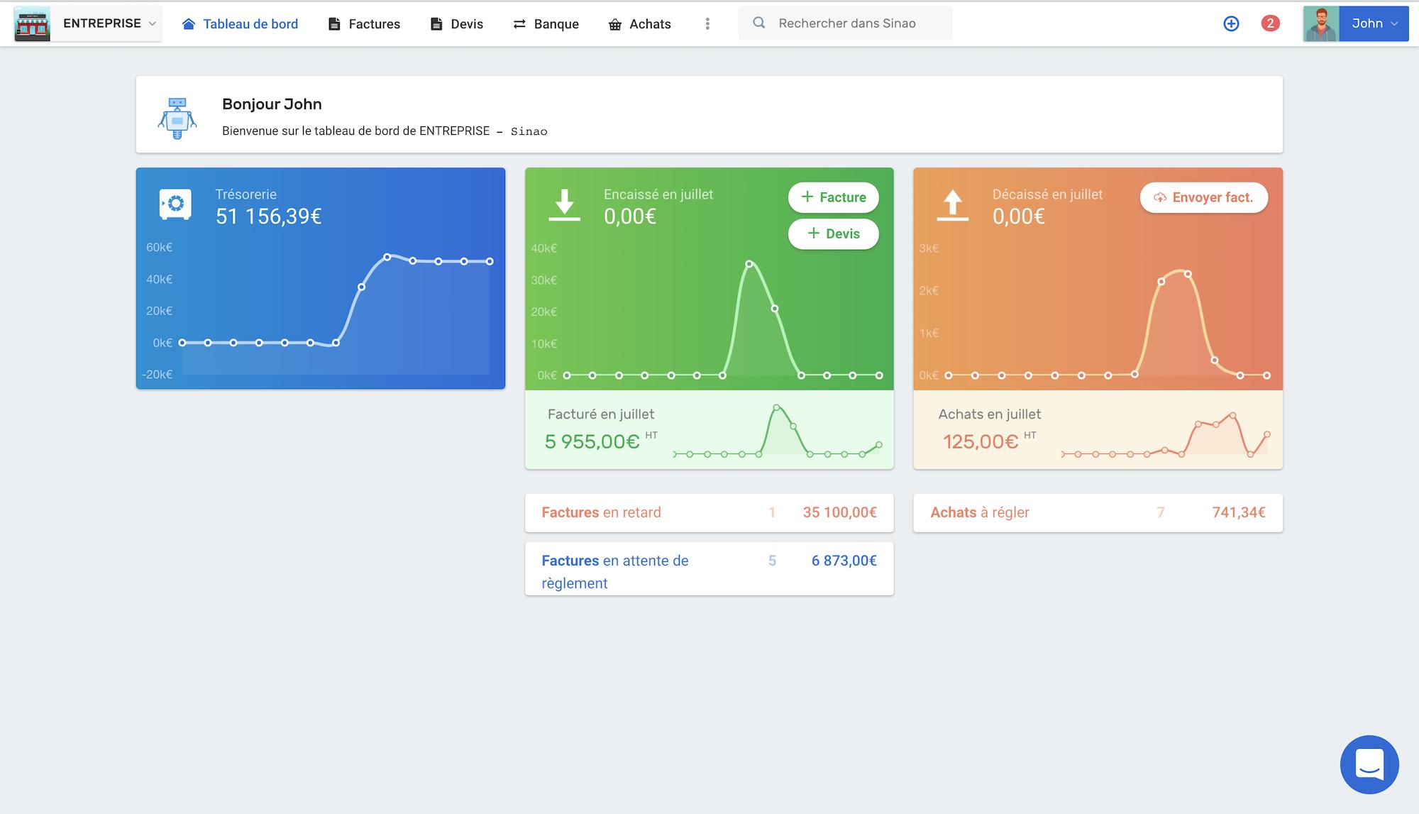 Interface Sinao logiciel comptabilité