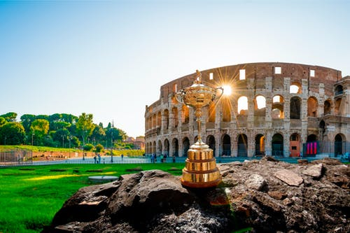 The Ryder Cup in front of the Rome Coliseum