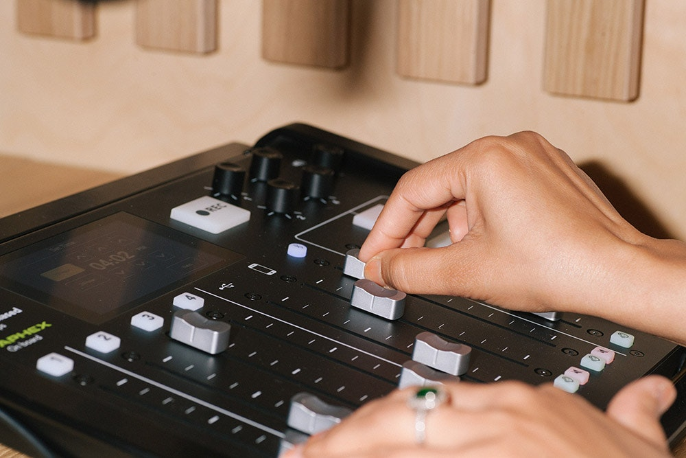 RØDECaster Pro Unit inside our podcast studios. Podcast production services with clear audio quality — book today.